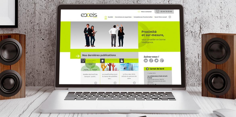 Capture d'écran du site internet du cabinet conseil en management Exeis conseil réalisé par B17 Communication