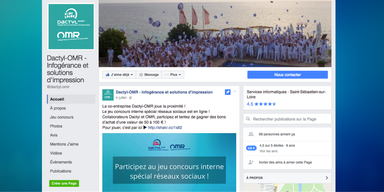 Page Facebook de l'entreprise Dactyl OMR