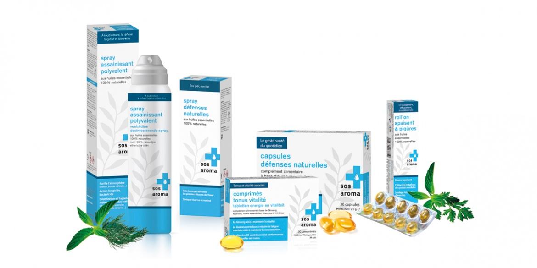 Packagings des nouveau produits SOS Aroma réalisés par l'agence B17 Communication