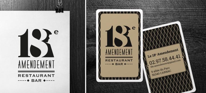Carte de visite réalisée par B17 communication pour le restaurant le 18e amendementment