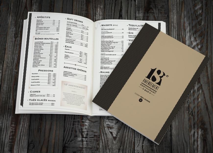 Carte réalisée par B17 communication pour le restaurant le 18e amendement