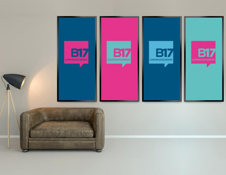 Déclinaisons de couleurs du nouveau logo B17 Communication