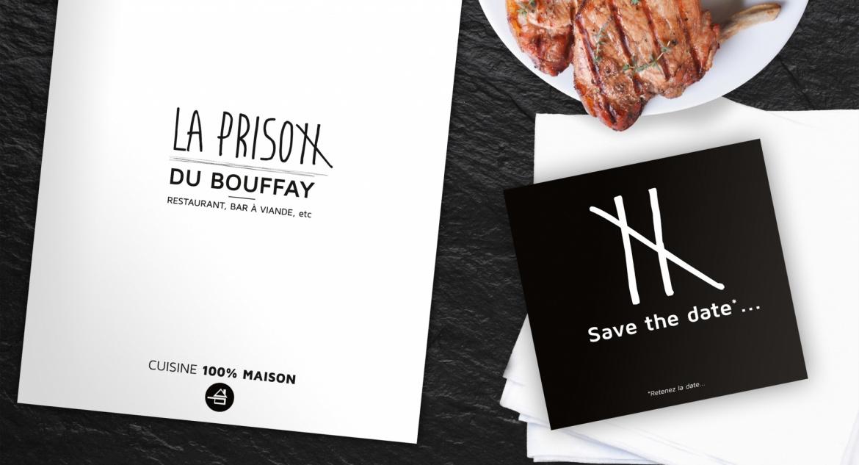 Supports de communication du restaurant la Prison du Bouffay réalisés par l'agence B17 communication